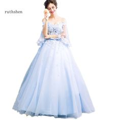 ruthshen Bohemian Wedding Dresses 2017 Off Shoulder Appliques Flowers  Beaded Light Blue Luxury Bridal Ball Gowns Cheap 797c0a34733c
