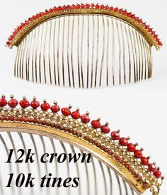 Antique French Empire Tiara, Diadem, Crown in Red Coral and 12k, 9k Gold, RARE Comb