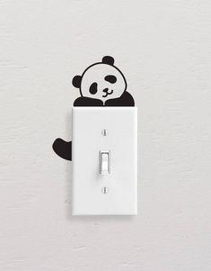 Panda Wall Decals, Panda Light Switch Decal, Simple Panda Vinyl Wall Decal, Panda Stickers, Light Switch Sticker – Willkommen in meiner Welt Simple Wall Paintings, Creative Wall Painting, Wall Painting Decor, Diy Wall Art, Diy Wall Decor, Mur Diy, Deco Originale, Wall Drawing, Vinyl Wall Decals