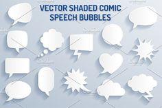 Vector Shaded Comic Speech Bubbles by Pingebat on @creativemarket