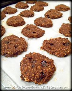 pb2 chocolate peanut butter oat breakfast cookies ~ sweetened with banana  & applesauce ~ flour