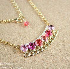 Pink Crystal bib necklaceSmall bib necklacePink by EndoraJewellery, $50.00