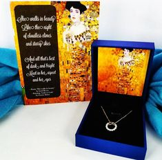 Make your gift even more romantic with the words of Lord Byron ✍🏼 Alternatively, you can write whatever you want and make the message completely personalised! Both options are printed on the beautiful painting: 'Lady in Gold' by Gustav Klimt 🧡 #jewellery #jewelry #necklace #fashion #gifts #poem #poet #byron #lordbyron #klimt #giftsforher #forher #etsy #etsygifts #etsyshop #lauriumblue Birthday Gifts For Her, Happy Birthday Me, Message For Girlfriend, Presents For Her, Beautiful Wife, Message Card, Beautiful Paintings, Sterling Silver Pendants, Anniversary Gifts