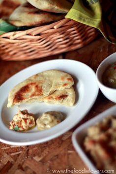 Home Baked Pita Bread with Roasted Garlic Hummus and Baba Ganoush