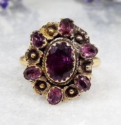 Antique Georgian 18ct Gold Flower Wreath Ring with Foiled Purple Amethysts Size M