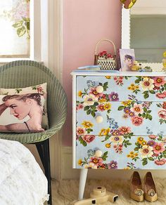 I like the proximity between the furniture in this arrangement. This dresser could easily be recreated with vintage fabric or wallpaper. Complete the look with a sheer-floral window treatment and textured rug.