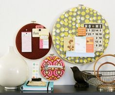 DIY bulletin boards - love this idea!!  I have tons of those needlepoint hoops in a bin, in the basement!  Could even bypass the bulletin board idea and just hang them as wall decor.