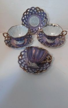 3 Japan Sterling China Lusterware, irridescent purple - blue tea cup & saucers  EBAY#lusterware #sterlingchina