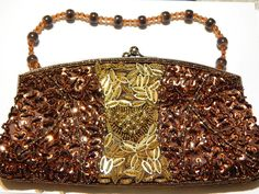 Vintage Beaded Sequin Purse/Clutch  Gold And by MURPHYSTREASURES2