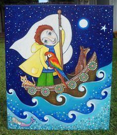 Niños técnica mixta pintura original del arte Guacamayo pájaro pelo rojo del muchacho en el barco con el regalo de los niños del arte del perro del arte habitación para el hijo - 'Volver'