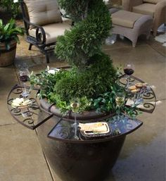 I want these! turn your flower pots into patio tables...