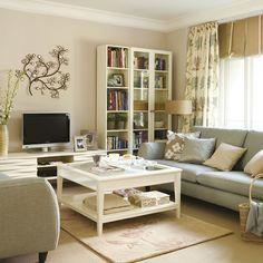 kucuk oturma odasi dekorasyon ornekleri koltuk takimi sehpa tv unitesi kitaplik yastik aksesuar gri krem bej
