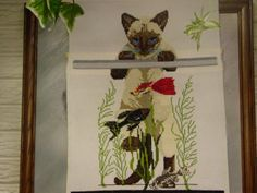 Crossstitch Siamese Cat and Fish Tank Matted and Framed.