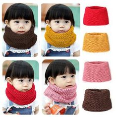 Fashion Winter Children Kids Scarf Baby Boy Girl Knitted Solid Warm Wrap Neckerchief