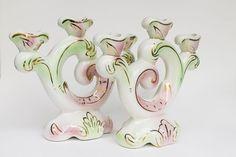 Pareja de candelabros de cerámica con dibujos hechos a mano-  El Desván de Bartleby C/. Niebla 13. Sevilla 41011