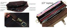 "Handmade Vintage Leather Briefcase / Leather Messenger Bag / Leather Satchel / 11"" 13"" MacBook 12"" 13"" Laptop Bag - n15 - Thumbnail 3"