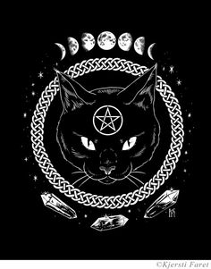 drawing Illustration Black and White moon Witch crystals witchcraft screenprint quartz Black Cat pentagram wiccan celtic wicca celtic knot Lunar Phases cat coen catcovenshop cat coven shop