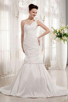 Ruffle Mermaid One Shoulder Sweetheart Taffeta Open Back Wedding Dress