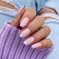 Manicure Nail Designs, Cute Acrylic Nail Designs, Simple Acrylic Nails, Nail Art Designs, Purple Nails, Gold Nails, Stylish Nails, Trendy Nails, White Tip Nails