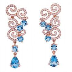 Rose Gold Aquamarine and Diamond Earrings