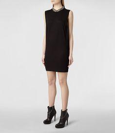 Womens Alvie Dress (Black/Black) | ALLSAINTS.com