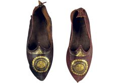 Byzantine leather shoes with gold leaf decoration, 5th-8th c. CE, Egypt. Byzantine & Christian Museum, Athens, Greece. source