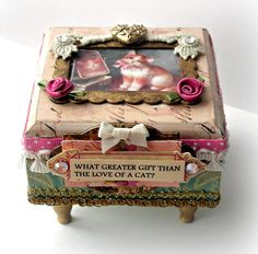 ee731d0149a6 Small Wood Cat Box Mixed Media Box Altered Art Box Wooden Gift Box Shabby  Chic Jewelry Box Painted Box Scrapbook Collage Box