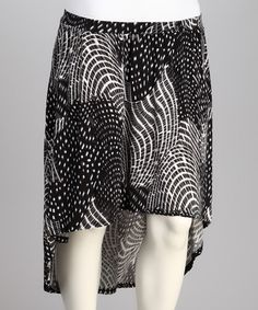 Take a look at this Black & Charcoal Abstract Hi-Low Skirt - Plus by Yummy on #zulily today!