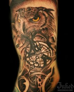 Owl tattoo by Oscar Askermo - With time you got to be wise :)