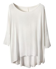 Asymmetric Three-quarter-sleeved Md-long T-shirt