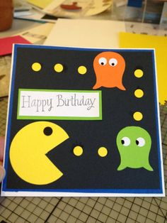 Retro Pac Man birthday card by CraftyShannanigans on Etsy, $5.00