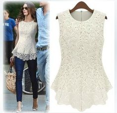 Cheap lace negligee, Buy Quality lace wig adhesive tape directly from China lace bottom Suppliers: New 2014 Desigual Women White Lace Blouse Sexy Plus Size Crochet Lace Tops Women Blusas Renda Sleeveless Shirts Casual Dresses For Women, Sexy Dresses, Summer Dresses, Lace Dresses, Cheap Dresses, Short Dresses, Girls Dresses, Wedding Dresses, Lace Tops