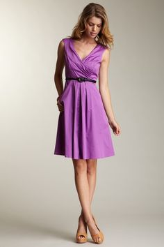 Jessica Simpson  V-Neck Knee Length Dress with Belt