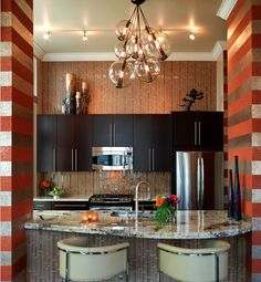 Definitely need multi-piece light fixture like this Art deco kitchen