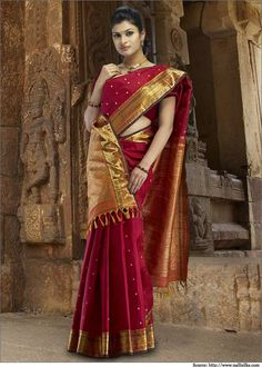 10 Kanjivaram Sarees to Look Ravishing | Designer Blouses, Silk Sarees