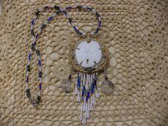 Beach Glass Sand Dollar Necklace OOAK by LittleCanaryandCo on Etsy