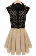Black Sleeveless Embroidery Pleated Lace Dress $32.00