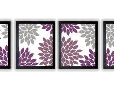 Flower Print Grey Gray Purple Plum by CustomArtPrints on Etsy