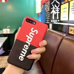 Supreme klassische Rot und Schwarz Leder Handyhülle für Iphone6/6plus/7/7plus