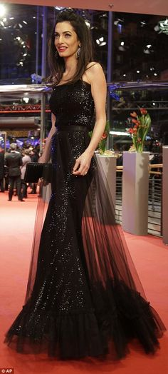 Feb. 11, 2016 - Amal Clooney looking stunning in Yves Saint Laurent gown