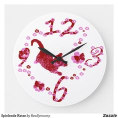 Spielende Katze Große Wanduhr Clock, Wall, Home Decor, Pink Butterfly, Large Clocks For Walls, Cute Designs, Artworks, Games, Gifts