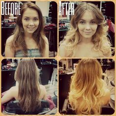 Blonde ombre on long hair, flat iron curled