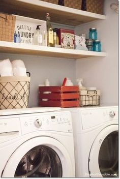 Even a laundryroom in a closet can have functional personality! Blue Cottage Decor: laundry closet