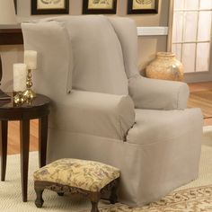 Sure Fit Cotton Duck Wing Chair Slipcover (T Cushion) - 139726246 Natural