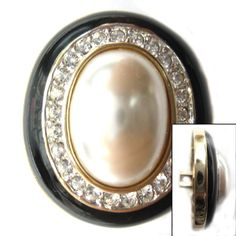 Gold Plated Shank Button With Black Stripe and Pearl at Center Surrounded By Clear Rhinestone.