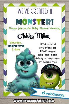 Printable custom monster inc baby shower invitations monster inc monster university custom baby shower invitations filmwisefo