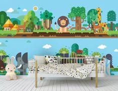 3D Cute Lion 563 Wall Murals | AJ Wallpaper Kids Room Wallpaper, Paper Wallpaper, Self Adhesive Wallpaper, Custom Wallpaper, 3d Wall Murals, Cute Lion, Traditional Wallpaper, Toddler Bed, Park