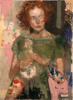 Charles Dwyer Hillary mixed media. A 2-D work with an awe inspiring amount of expression captured in the subject. Amazing color, texture and balance, too.