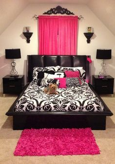 Blk bed, damask patterns, block out fushia curtains and fushia accessories, Eifel tower (wall sticker or paint)