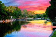 Fine Art Photography, Nature, Nature Art, Pink, Sunset, Rainbow Reflections,8 X 10 fine art photography, Color photo.